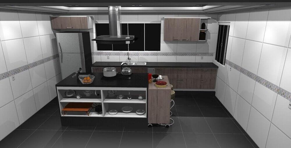 Decoração de cozinha com coifa de ilha