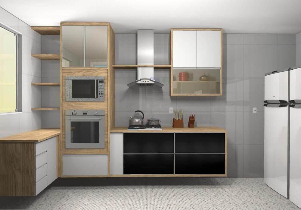 Decoração cozinha com coifa de parede em vidro e alumínio