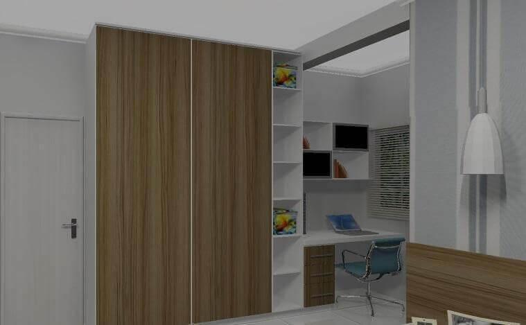 decoração de quarto de solteiro com armário embutido