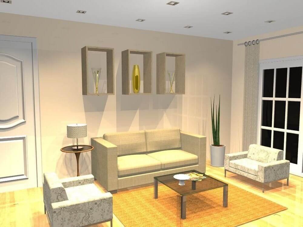 Decoração simples com nicho de parede para sala