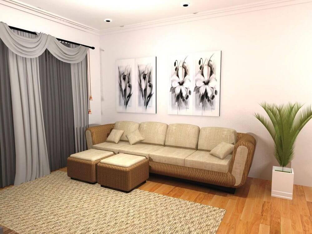 decoração sala de estar sofá e puff revestidos em palha