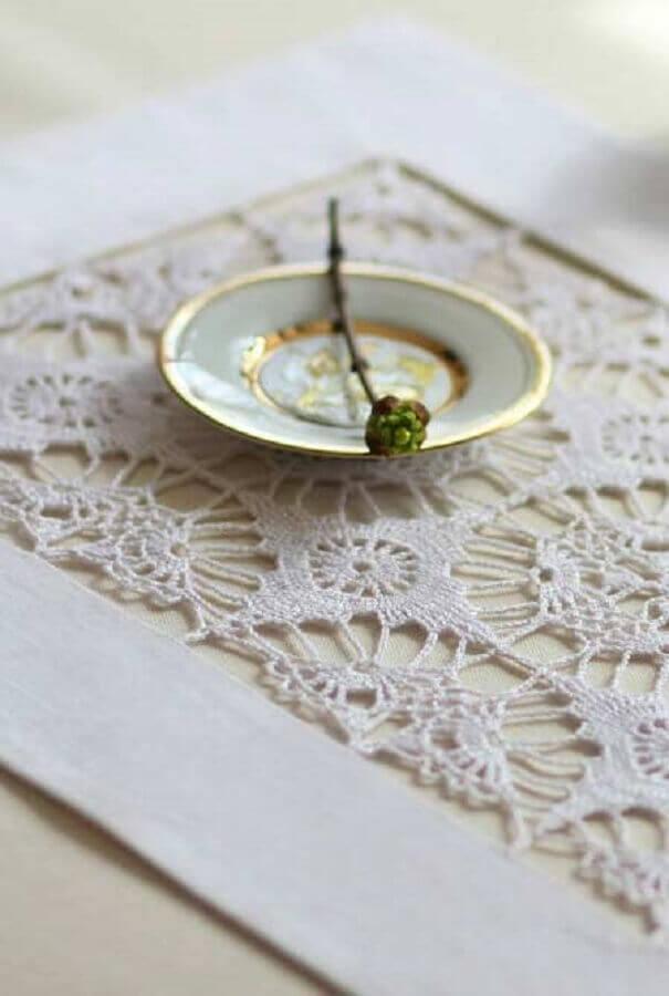 delicado modelo de jogo de crochê retangular