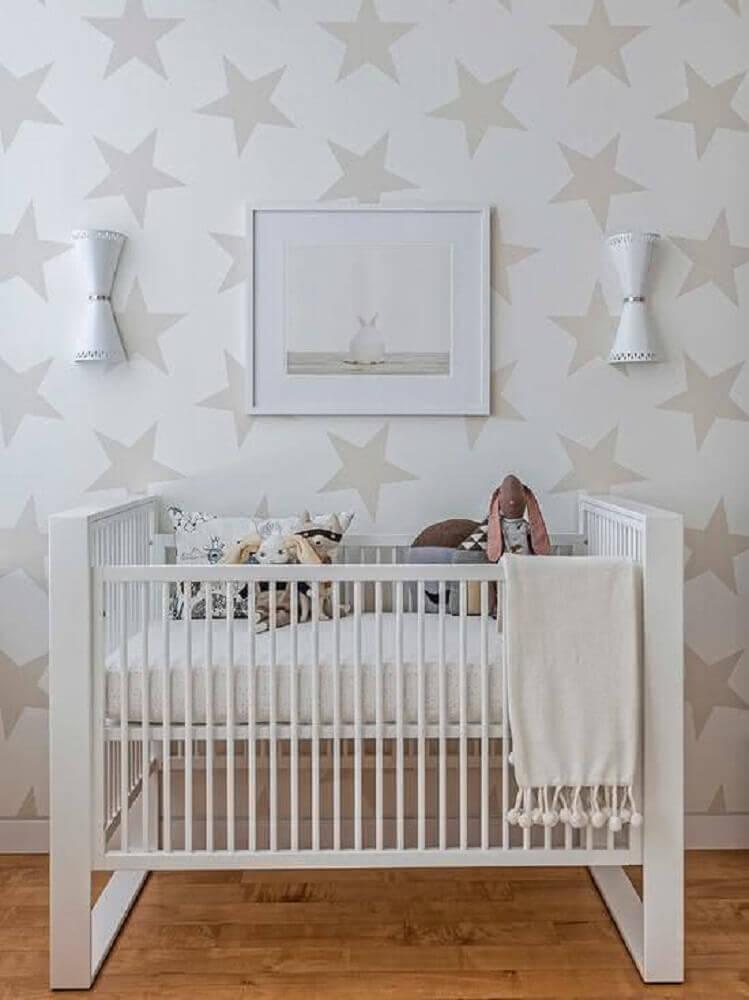 estampa de estrelinha para papel de parede para quarto de bebê neutro