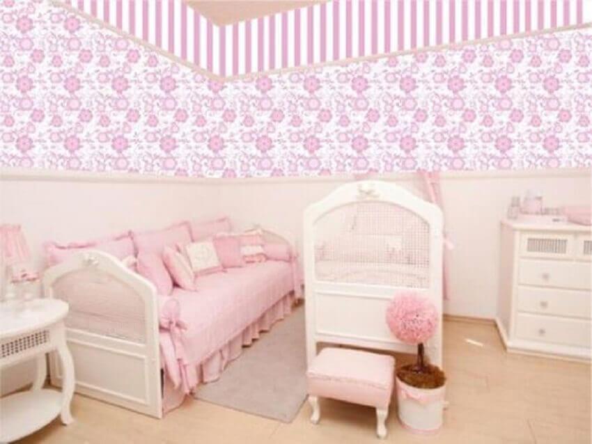 estampa floral para papel de parede para quarto de bebê feminino