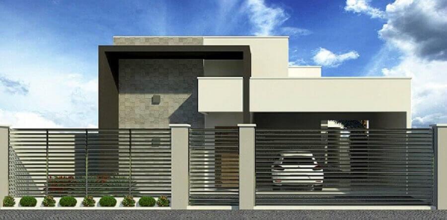 Fachada de casa moderna com telhado embutido
