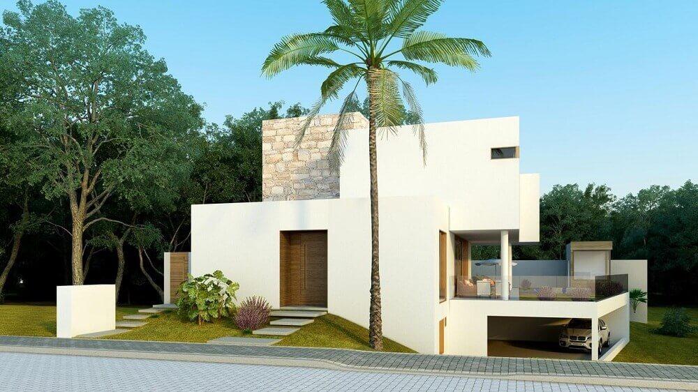 26. Fachada de casa moderna com coqueiro e telhado embutido