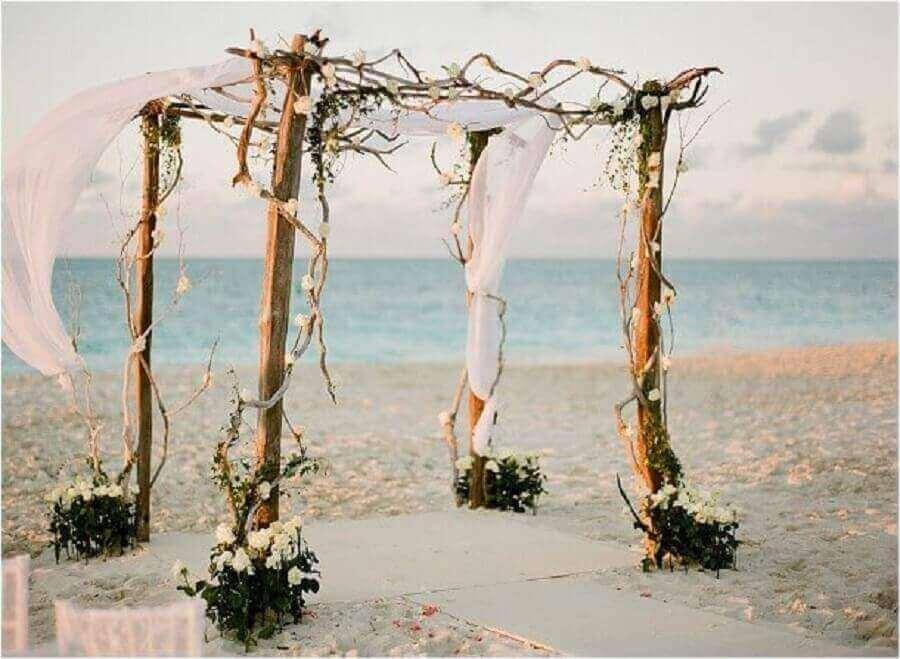fotos de casamento na praia com decoração rústica Foto Pinterest