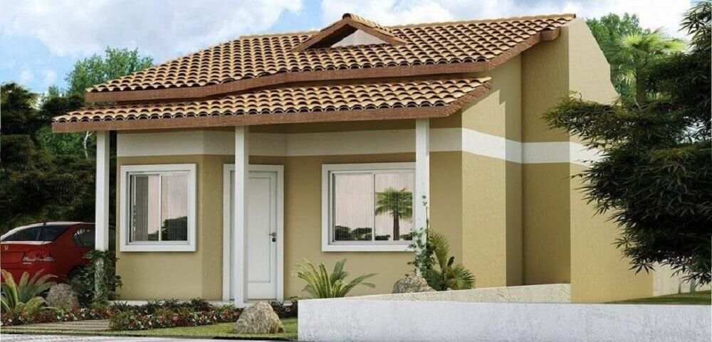 frente de casas simples com cores neutras