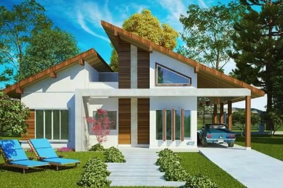 frente de casas simples com detalhes em madeira