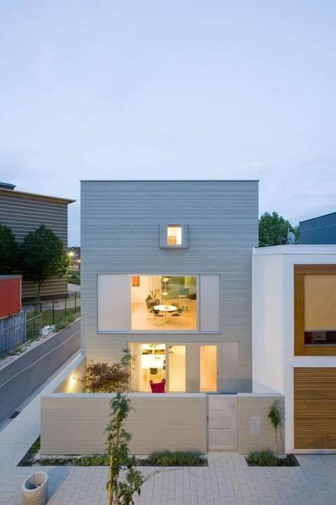 frentes de casas com muro e fachada moderna