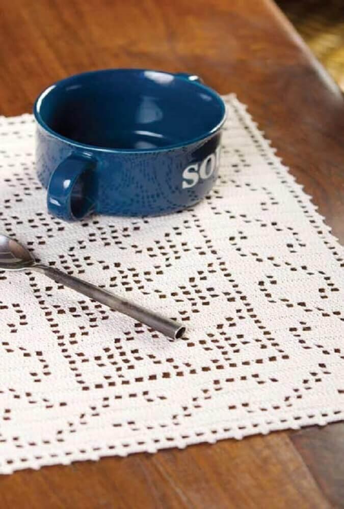 jogo americano de crochê branco