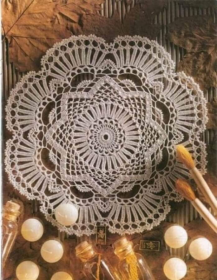 jogo americano de crochê redondo e delicado