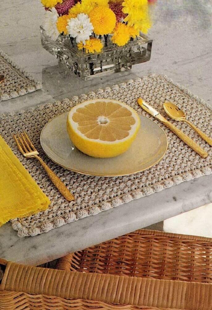 jogo americano de crochê retangular simples
