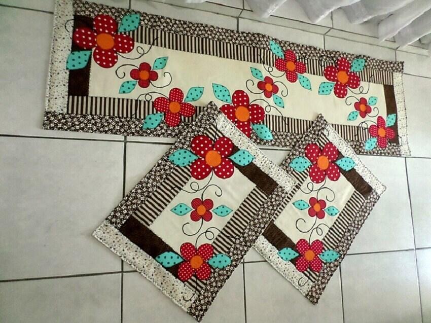 jogo de artesanato com patchwork para cozinha
