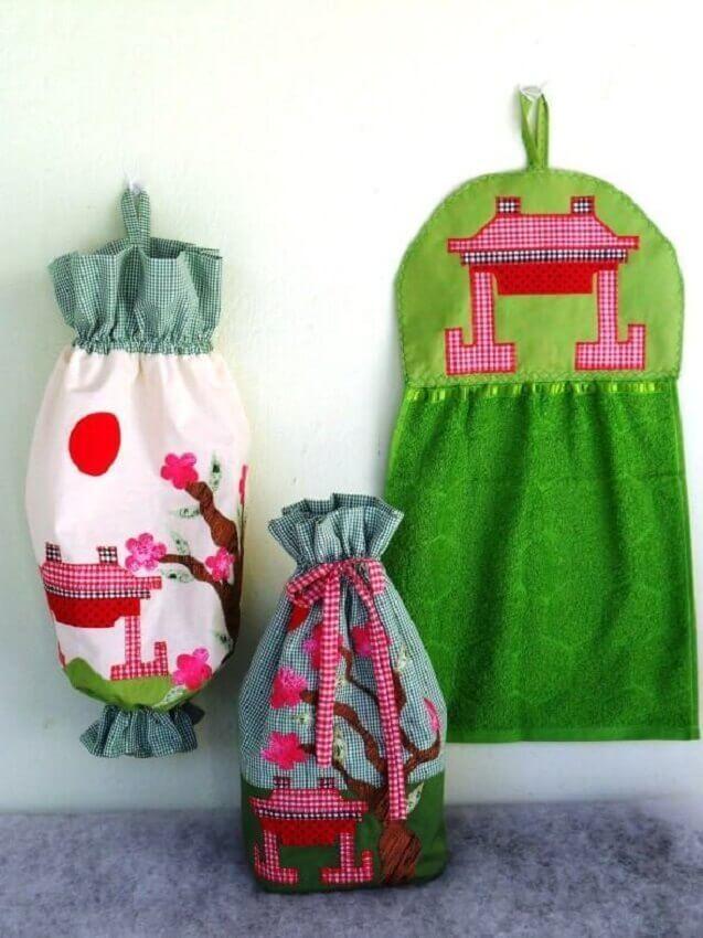 jogo de cozinha em tecido
