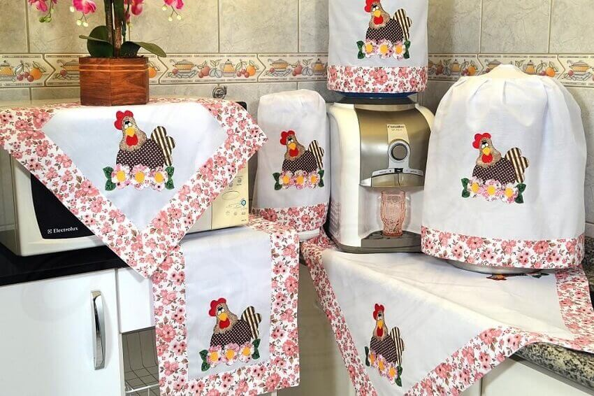 jogo de cozinha feito em patchwork para cozinha