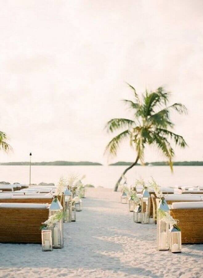 luminárias para casamento na praia