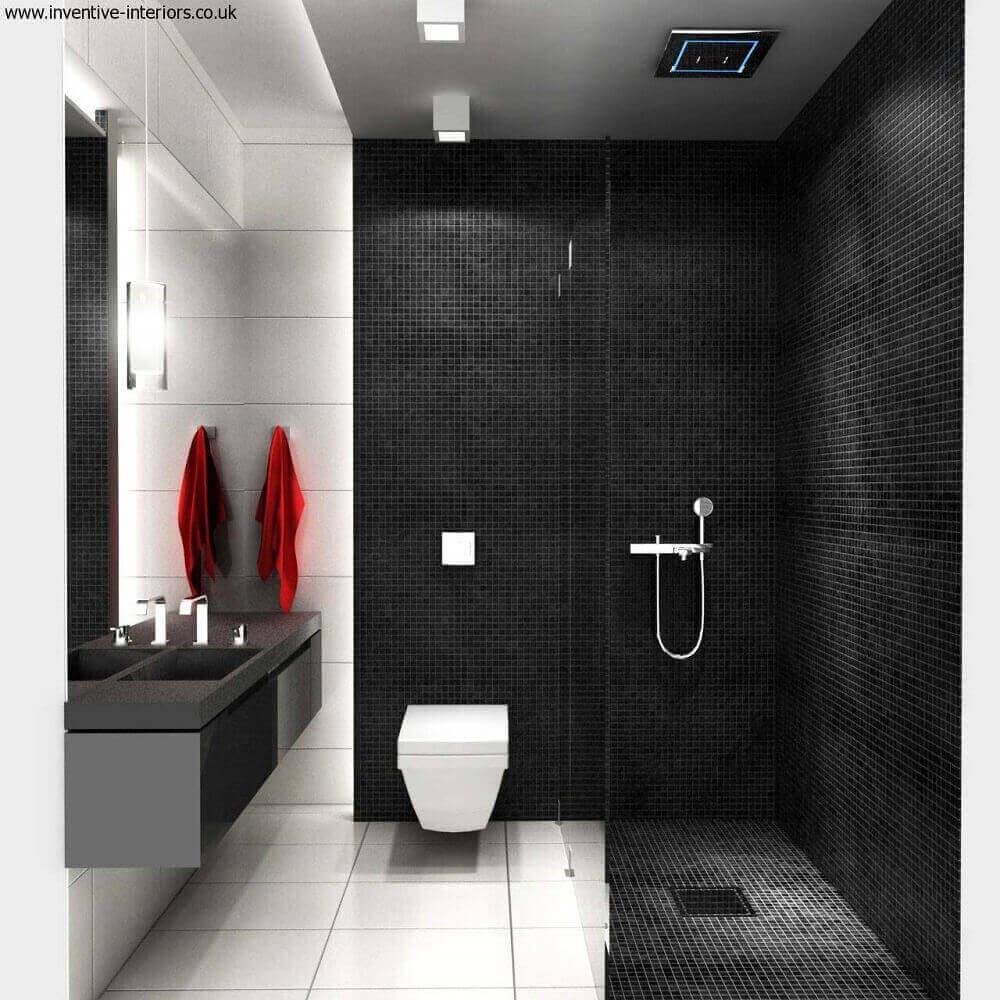modelo de banheiro com pastilha preta