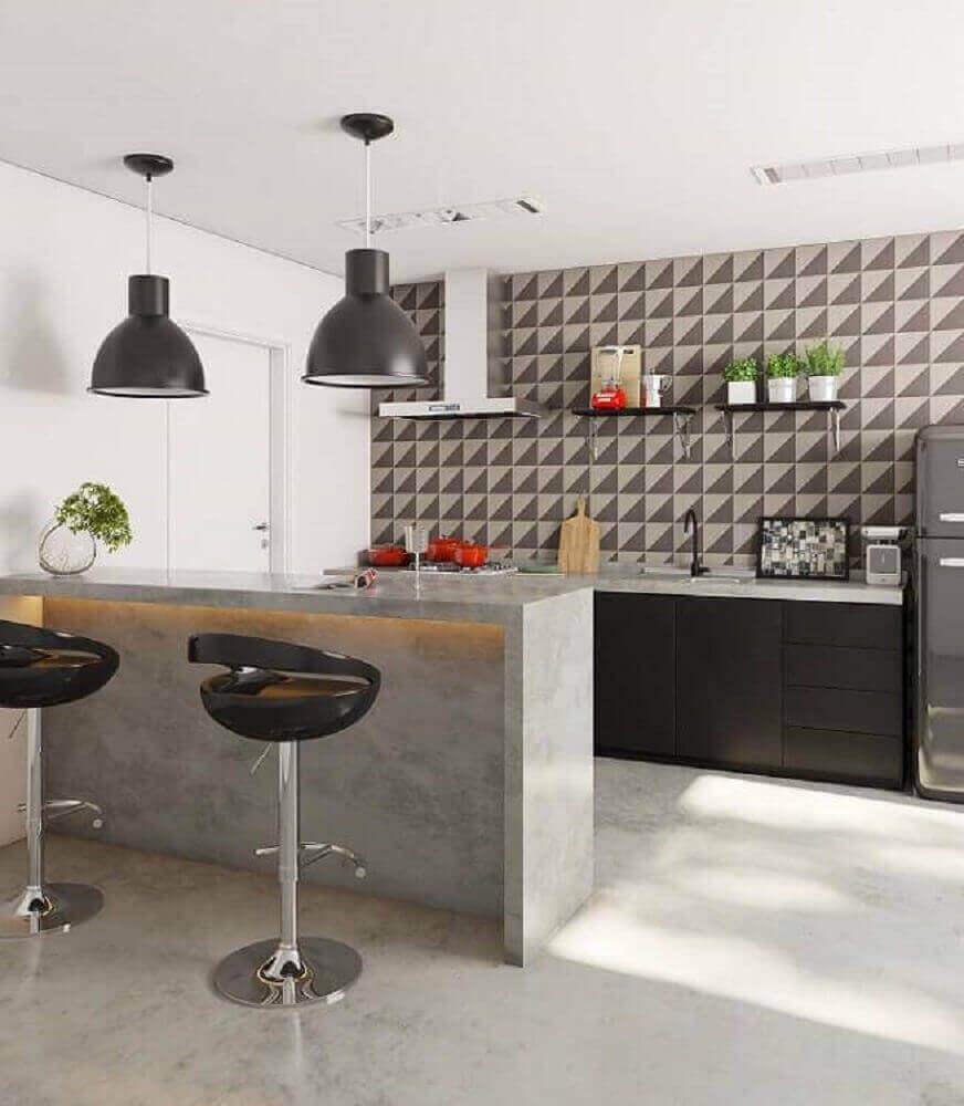 modelo de pendente preto para cozinha americana