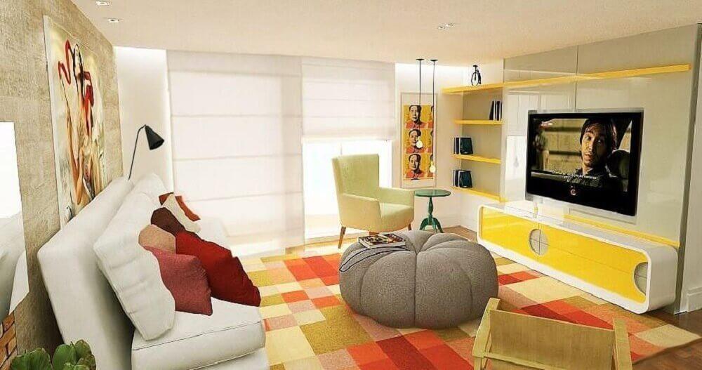 modelo de puff grande para sala com design redondo e bonito