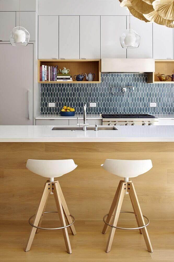 modelo moderno de banquetas para cozinha decorada Foto Architizer