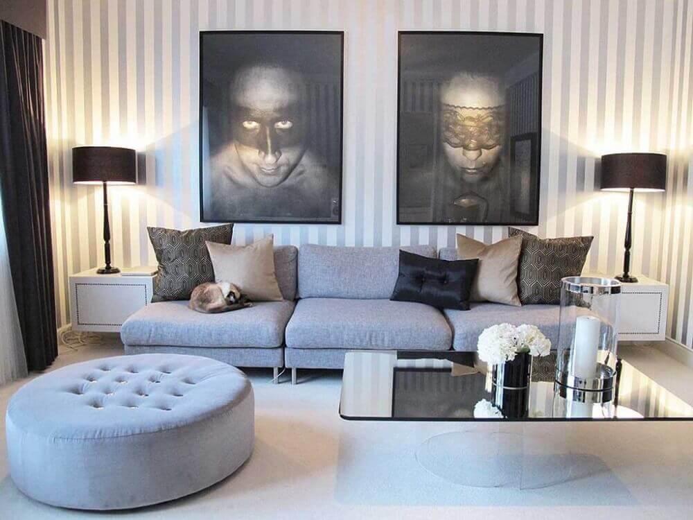 modelo redondo de puff para sala de estar