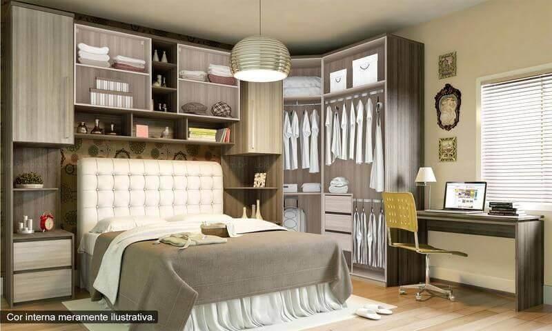 Modelo de armário com cama embutida para quarto de casal