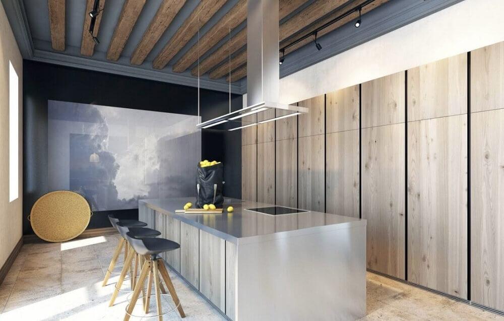 moderna cozinha com coifa de vidro