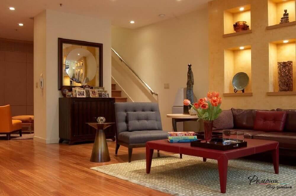 nichos embutidos para sala de estar com iluminação