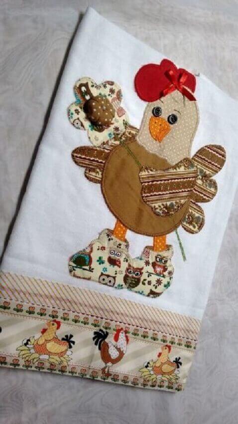 pano de prato feito com patchwork para cozinha