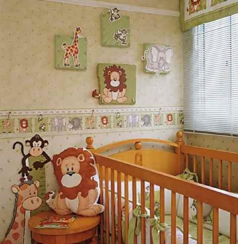 papel de parede infantil para quarto de bebê com tema de safári