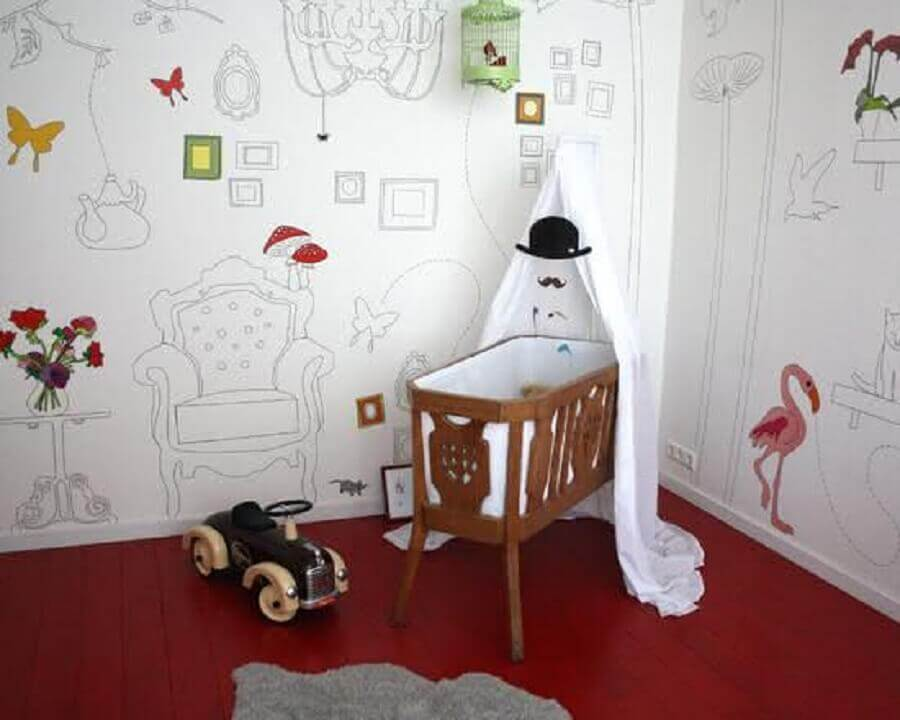 papel de parede infantil para quarto de bebê masculino