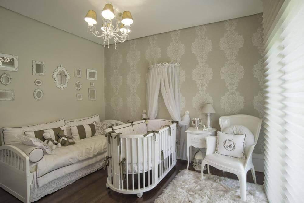 papel de parede neutro para quarto de bebê