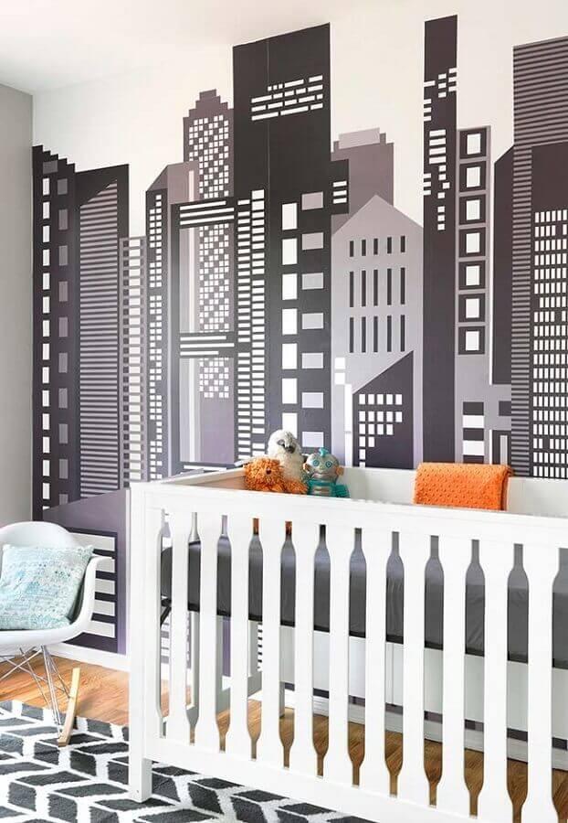 papel de parede para quarto de bebê com desenho de prédios Foto Pinterest