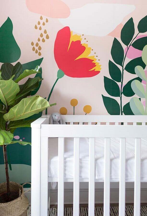 papel de parede para quarto de bebê com desenhos de flores grandes e coloridas Foto Frenchy Fancy