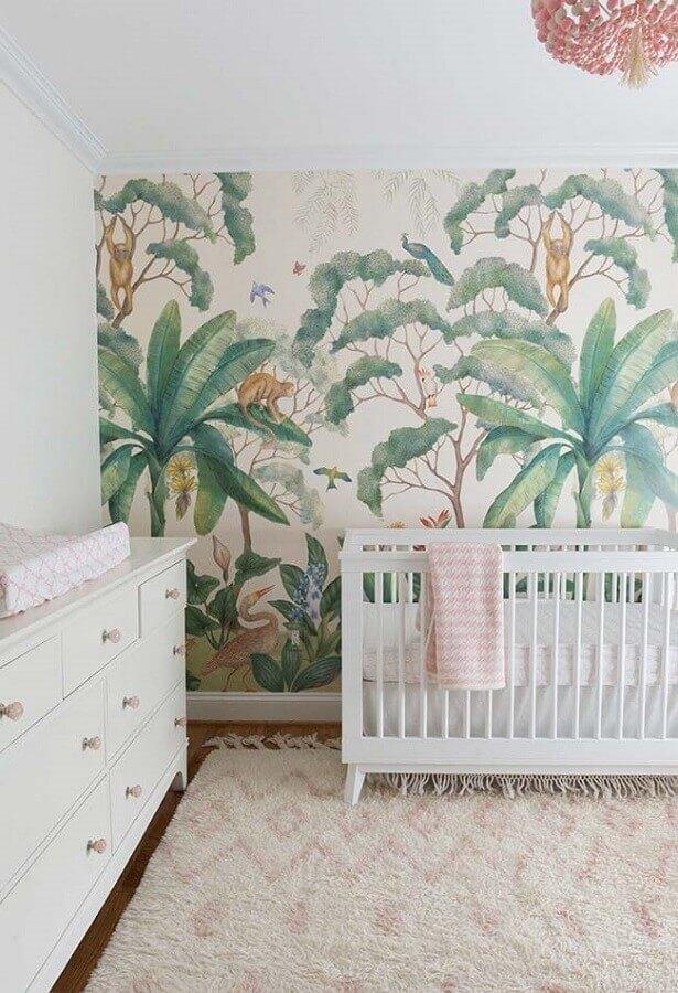 papel de parede para quarto de bebê com folhagens Foto Houzz
