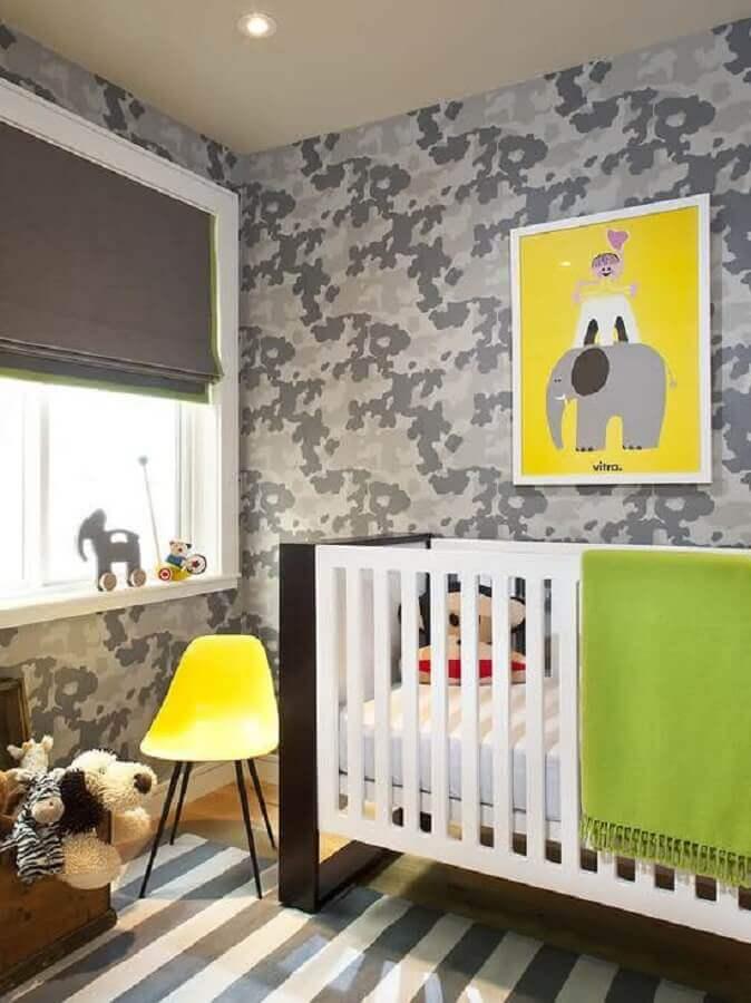 papel de parede para quarto de bebê com tema militar Foto Archzine