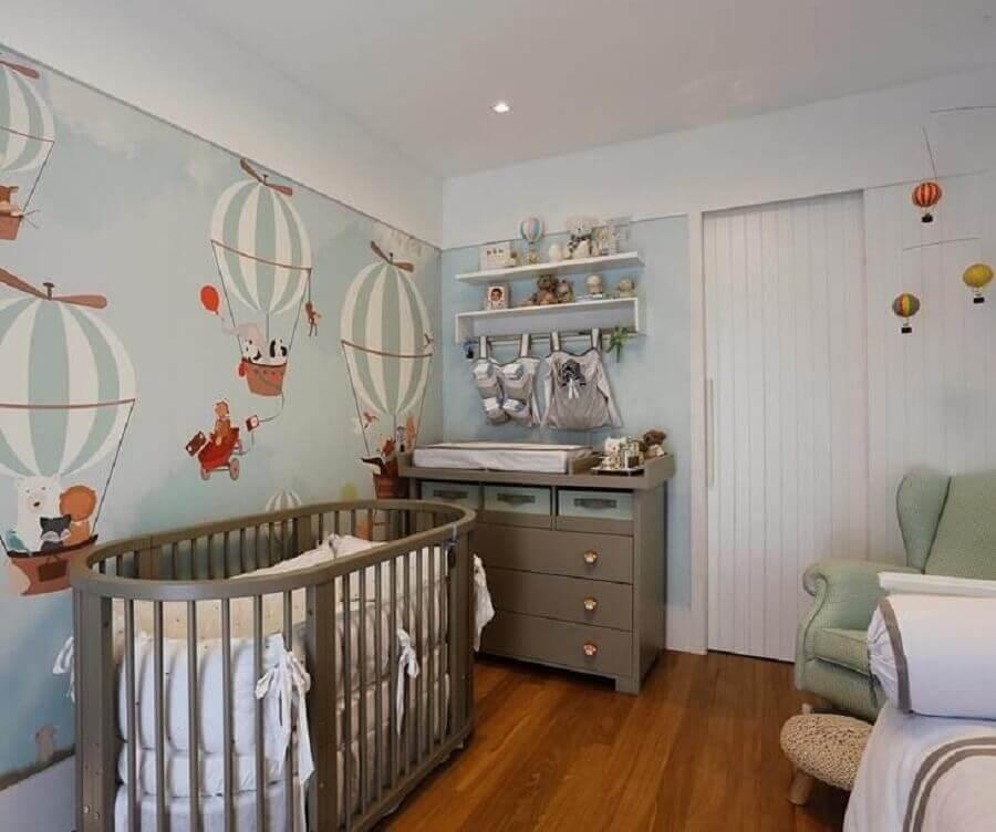 papel de parede para quarto de bebê com ursinhos em balões Foto Paola Ribeiro