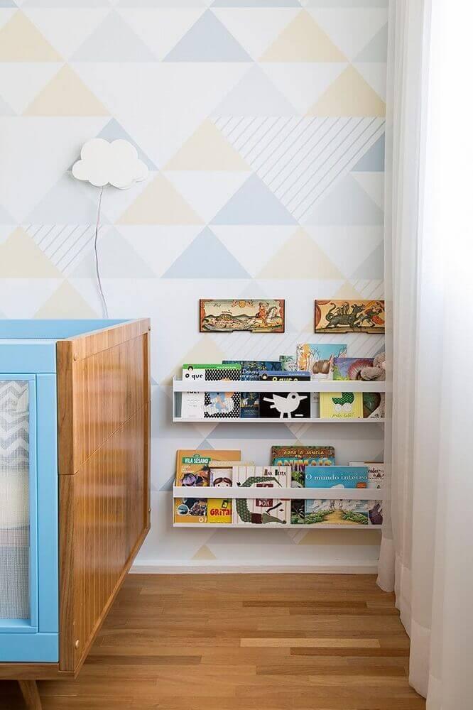 papel de parede para quarto de bebê em tom pastel