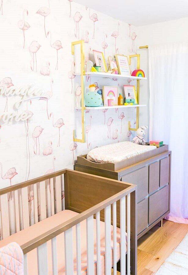 papel de parede para quarto de bebê feminino com desenhos de flamingo Foto Webcomunica