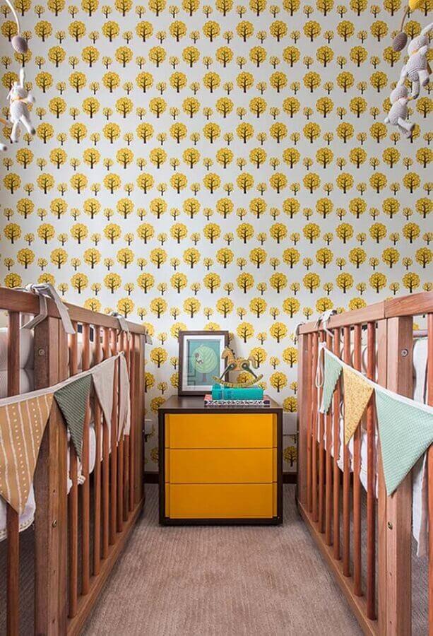 papel de parede para quarto de bebê gêmeos Foto Pinterest