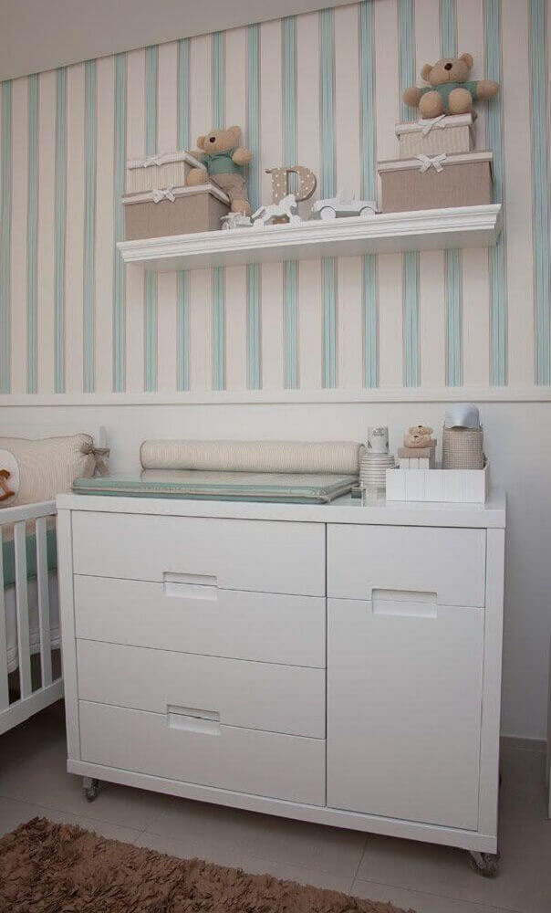 papel de parede para quarto de bebê masculino com listras brancas de verde água