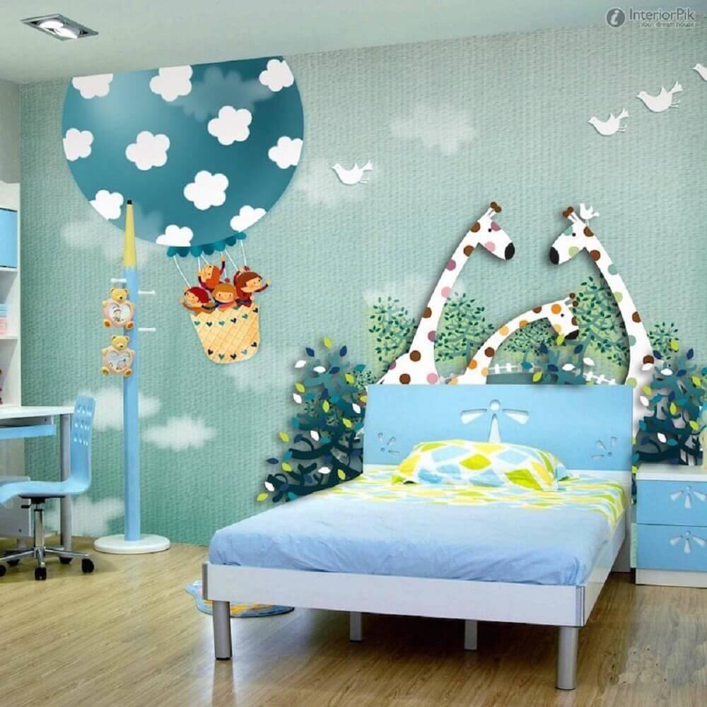 papel de parede para quarto infantil com estampa de safári lúdico