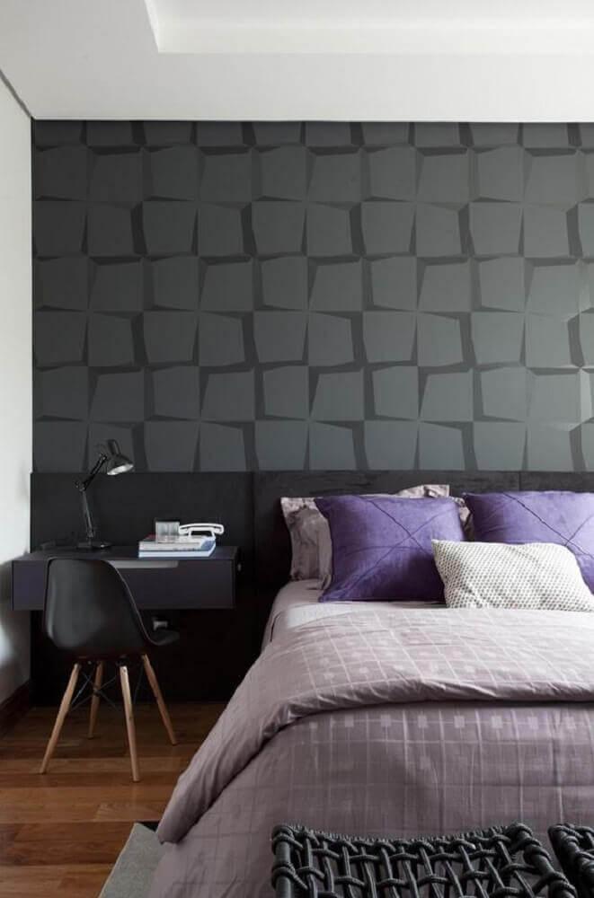 papel de parede para quarto masculino preto e cinza