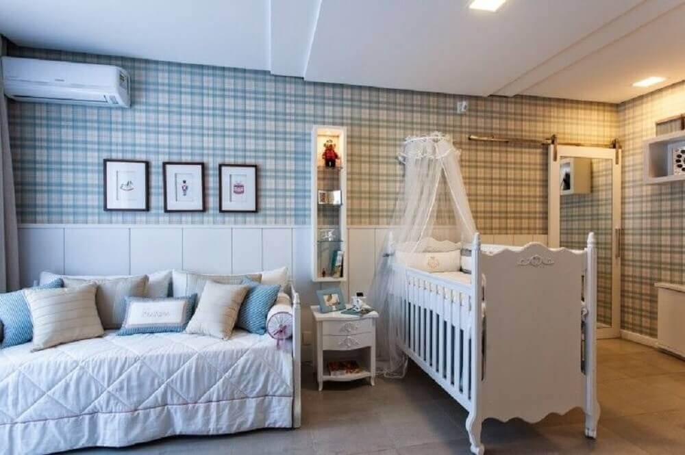 papel de parede xadrez para quarto de bebê masculino