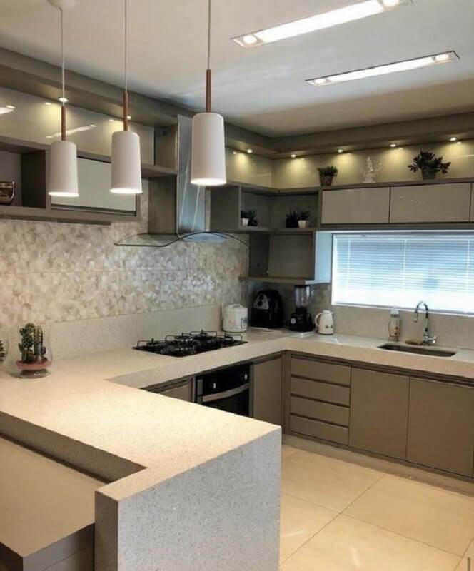 pendente branco para cozinha planejada cinza e branca Foto Pinterest