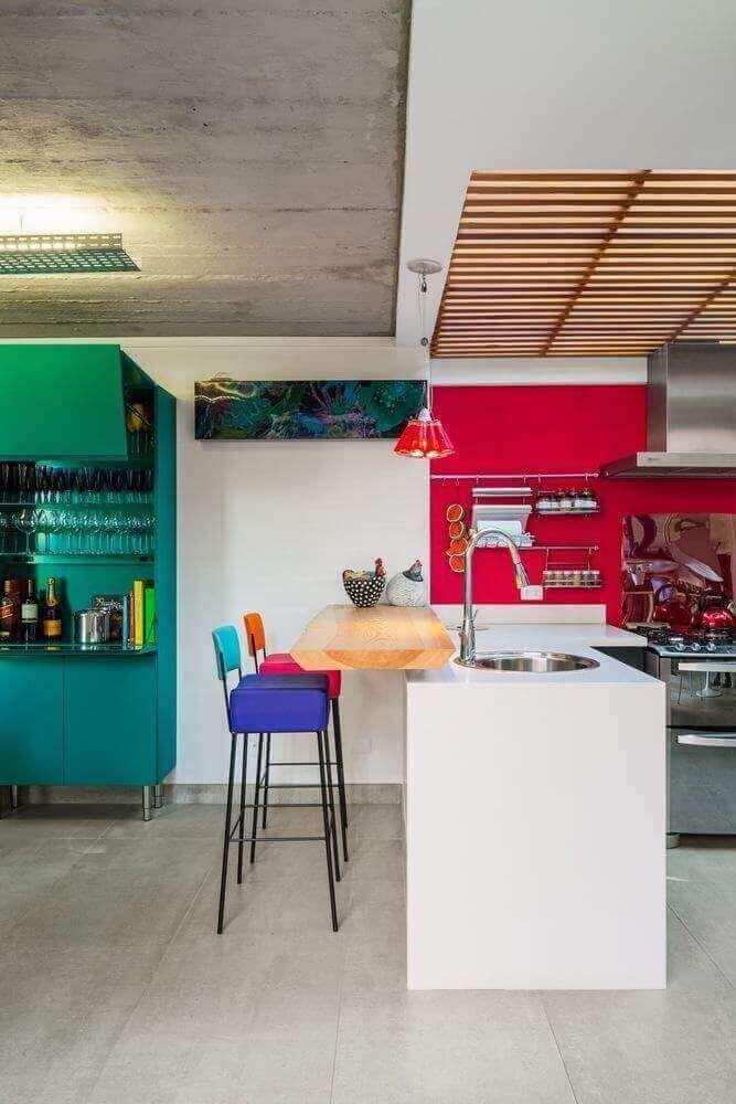 Modelo simples de pendente vermelho para cozinha americana