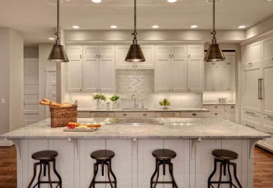 pendentes de metal para bancada de cozinha