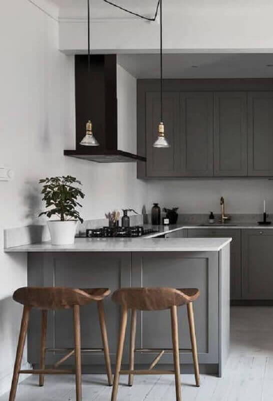 pendentes para cozinha cinza planejada Foto Behance