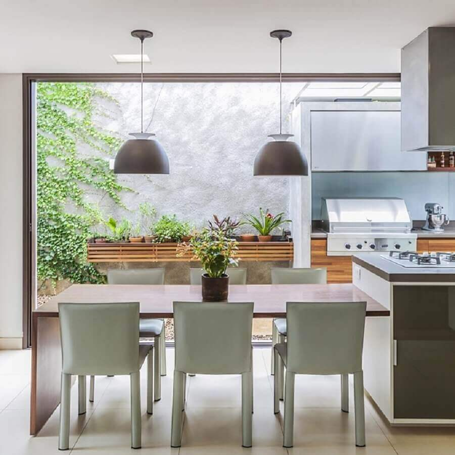 pendentes para cozinha gourmet moderna Foto Rogerio Shinagawa e Eliana Corsini
